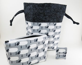 """Knitting Project Bag - New! """"White Sheep on Gray Knit Fabric"""" 2 Piece Set (C.5)"""
