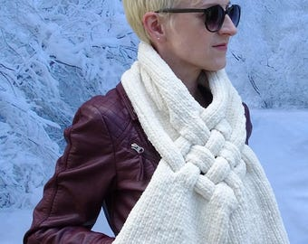 """Hand Knit """"Fresh Cream"""" Polyester Chenille Crossover Scarf"""