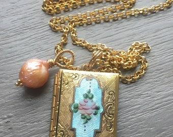 Vintage Guilloche Book Locket