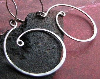 Naked Curls: Sterling Silver Handcrafted Loopy Swirl Earrings with Round Earwires