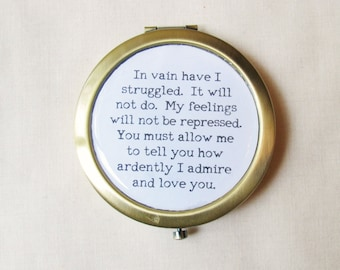 Jane Austen Gifts Bookworm - Pride and Prejudice Pocket Mirror Compact For Her - Quote Mr Darcy Proposal How Ardently I Admire and Love You