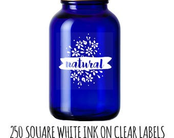 250 Labels,  labels with white ink, jar stickers, beard oil labels, essential oil labels, soap stickers, candle labels, bath bomb labels,