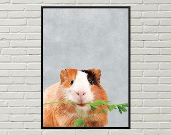 GUINEA PIG poster, guinea pig picture, guinea pig cage art guinea pig print, guinea pig wall art, cavy art pet picture, cute guinea pig room