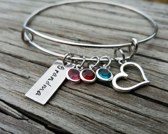 Hand Stamped Bangle Bracelet - Grandma Bangle Gift - Birthstone - Grandma Jewelry - Grandma Gift - Grandkids Birthstones -Grandkids - Bst/In
