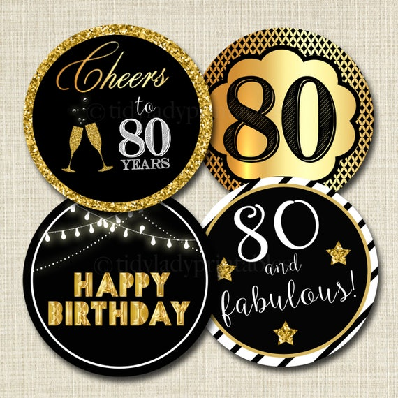 80th Birthday Cupcake Toppers PRINTABLE Cheers to Eighty Years
