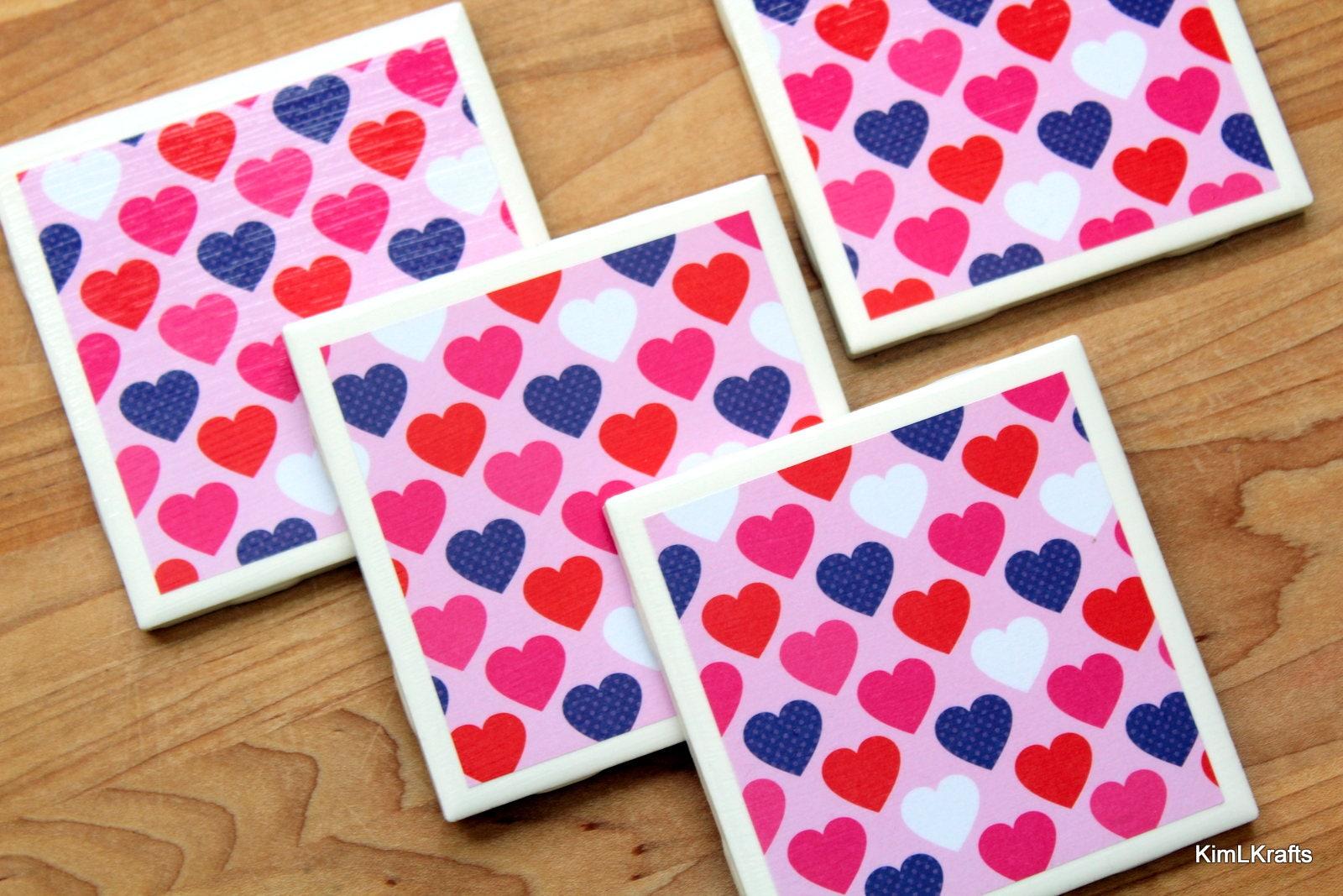 Heart Coaster Handmade Coasters Valentine\'s Day
