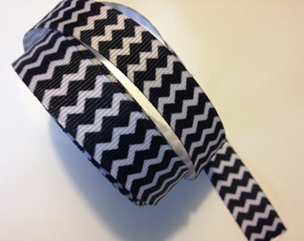 Black &White Chevron Ribbon 5/8 inch x 15 ft