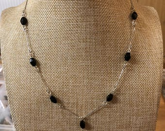 Silver and Black Beaded Necklace
