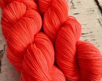 Sock yarn superwash merino, nylon, Corail, hand dyed in Quebec