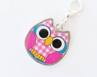 Knitting Progress Keeper | Knitting Project Bag Zipper Pull | Crochet Stitch Marker | Removable Stitchmarker | Cute Owl in Color (P205)