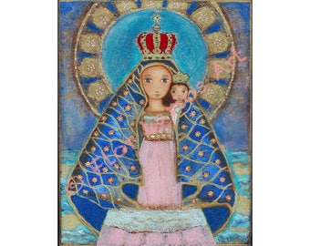 Our Lady of El Cobre - Giclee print mounted on Wood (8 x 10 inches) Folk Art  by FLOR LARIOS