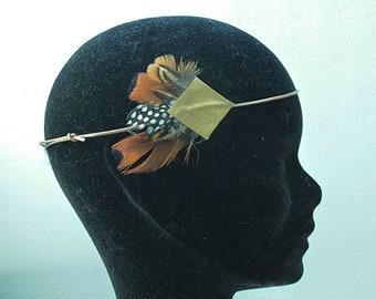 Head jewel headband leather and feathers
