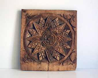 Carved Wood Panel, Wooden Star, Rustic Indian Wood, Furniture Fragment, Architectural Salvage, Vintage Wall Hanging, Boho Decor, Folk Art