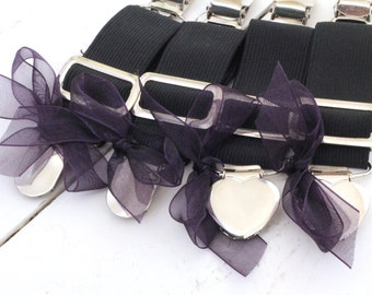 THIGH HIGH sock GARTERS - crocodile clips - onto shorts or knickers - pretty little bows - black garters - Gothic - sock  suspenders