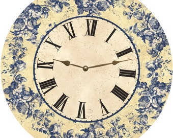 Floral Blue Toile Clock