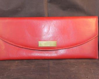 Vintage soft red leather clutch bag.