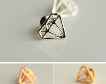 A pair of Minimalist Stud Earrings: Diamond shaped stud earrings for everyday use,tiny stud earrings rhodium plated earrings, pink gold stud