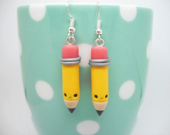 Cute yellow graphite pencil polymer clay dangly earrings