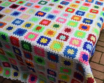 Vintage Handmade Bright Granny Square Crochet Afghan/Throw/Twin Spread