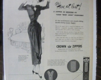 "FAS-L 149  ""Crown Zippers ""  Ad - November 1947"