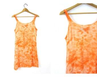 Vintage 90s Orange Indian mini dress Embroidered Tunic sundress Festival sun dress Hippie 1990s Boho Tie Dyed beach dress size Medium