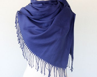 Blue pashmina scarf navy blue wedding wrap quality thick pashmina shawl bridesmaid scarf birthday gift for mothers day gift for her