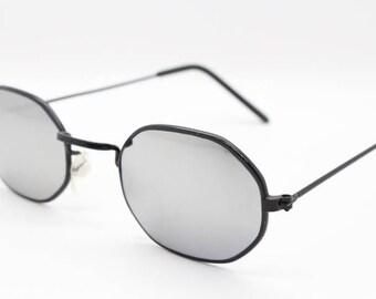 90's octagonal vintage sunglasses. Original NOS, black metal frame with mirror lenses. NWOT. Dead stock. Steampunk.