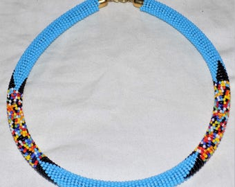 Elegant Masai/Maasai Beaded Choker Necklace (SKY BLUE)