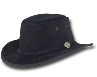 Barmah Hats 1094BL Narrow Brim Pig Suede Leather Hat in Black