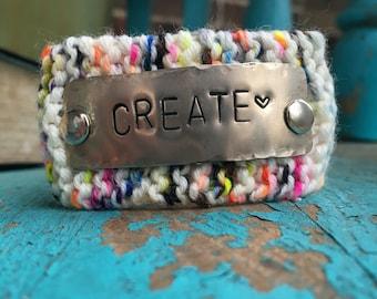 Create Bracelet, Colorful Rainbow Knit Cuff Bracelet, Inspirational Bracelet, Custom Hand Stamped Jewelry, Wrist Tattoo Cover
