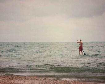 Paddle Board Photo, Beach Photography, Blue Mint Green Aqua Decor, Surfer Photo, Coastal Nautical Cottage Lake House Home Decor Wall Art