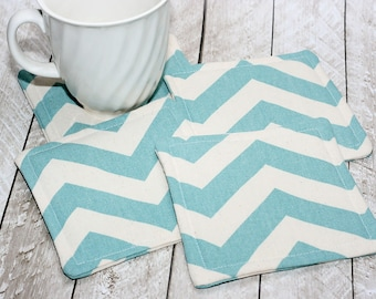 Aqua Blue Chevron Coasters, Set of 4