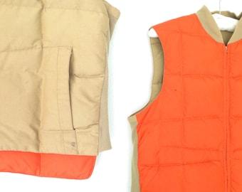 vintage down vest * 70s quilted vest jacket * 1970s llbean winter vest * men's * size s
