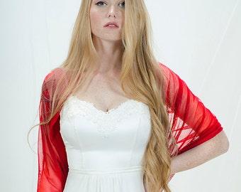 Red Wedding Bolero, Red Bridal Shrug. Wedding Cover Up- Wear As A Shawl, Shrug, Crisscross Or Scarf. Red Loop Shawl For Bride CF149
