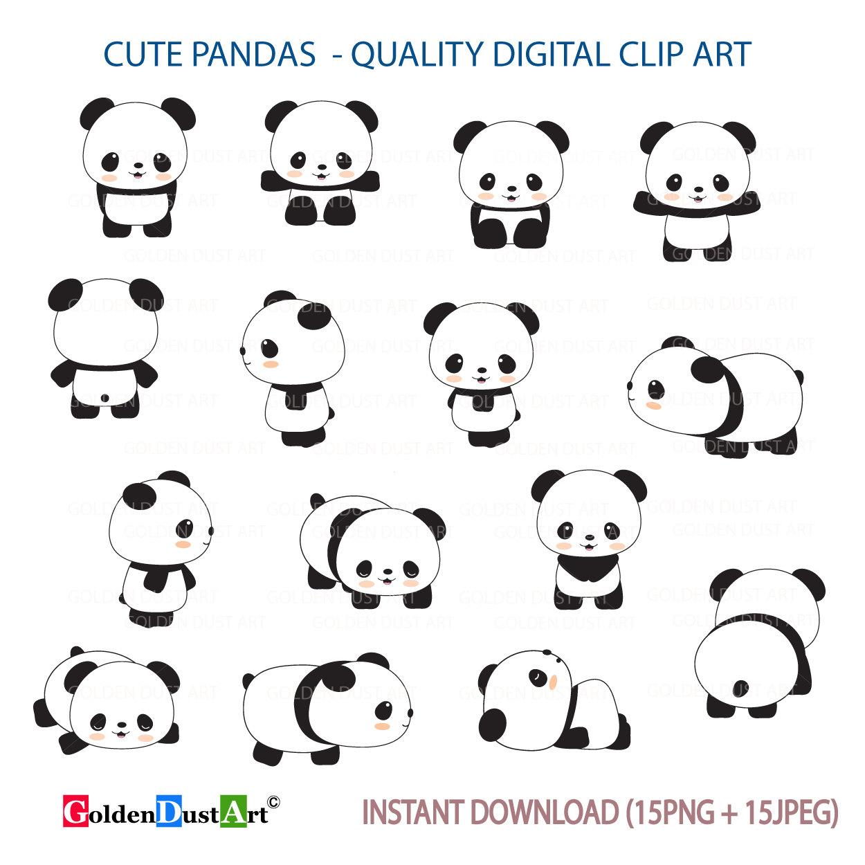Cute Pandas Clip Art Panda Clipart Kawaii