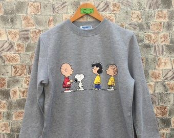 SNOOPY USA Jumper Sweater Women Medium Vintage 90's Charlie Brown Snoopy Peanuts Linus Van Pelt Cool Joe Pullover Gray Sweatshirt Size M