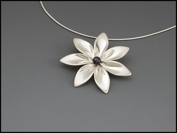7 Blatt Blume Anhänger Handdesigned Sterling Silber