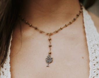 Toomer's Oak necklace / Beaded chain rosary style necklace with Auburn University Toomer's Oak charm / Toomer's Corner / dainty necklace