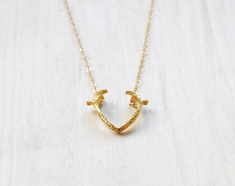 Deer Antler Necklace, Gold Necklace, Layering Necklace, Charm Necklace, Everyday necklace