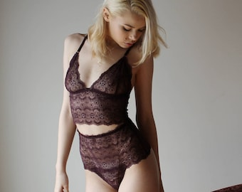 womens lace bralette camisole with longline body - CUPID - lingerie range - made to order