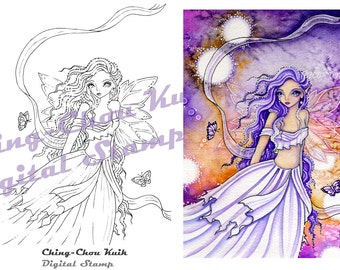 When You Are Gone - Instant Download / Butterfly Shawl Moon Fantasy Big Eye Tear Sad fairy by Ching-Chou Kuik