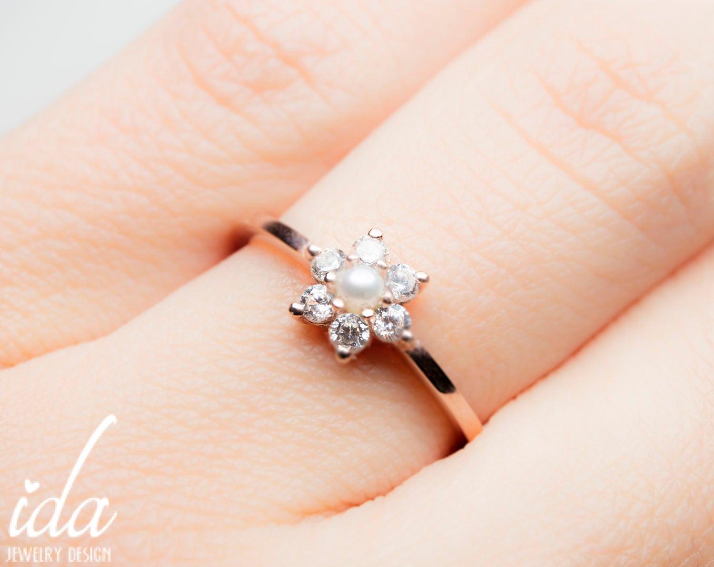 Pearl engagement ring 14k rose gold engagement ring lotus zoom izmirmasajfo Choice Image