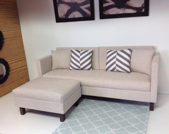 """Lounge Sofa, dollhouse furniture, 1:6 scale, playscale 10""""-12"""" dolls"""
