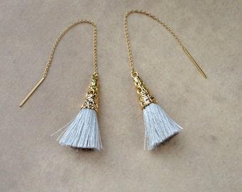 Silver Tassel Earrings, Gold Filled Chain Earrings, Gold Threader Earrings, Tassel Jewelry, Flirty Thread Through Long Silver Earrings, UK