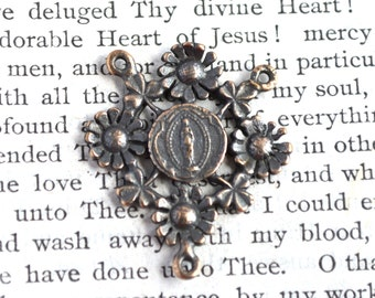 Mary Rosary Center - Bronze or Sterling Silver  - Lourdes - Rosary Center - Vintage Rosary Center Replica (R189-1265)