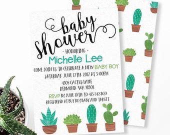 Cactus Baby Shower Invitation, Fiesta Baby Shower Invitation, Watercolor Cactus Invitation, Gender Neutral