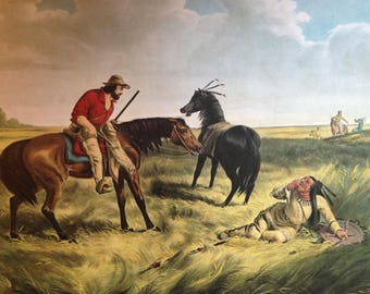 1968 Currier and Ives The Last War-Whoop Antique Illustration
