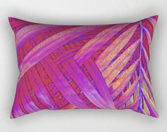 Purple Red Pillow, Tropical Home Decor, Pink Tropical Throw Pillow, Tropical Glam Accent Pillow, Palm Leaf Pillow, Leaf Print Lumbar Pillow