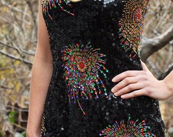 Vintage 90s Sequin Dress NYE Holiday Glam