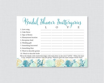 Beach Themed Bridal Shower Scattergories Game - Printable Blue and Aqua Nautical Scattergories Game - Nautical Bridal Shower Game 0012-B